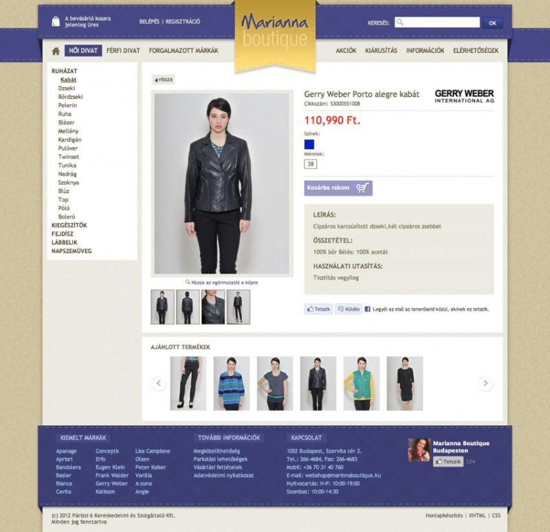 f247223251 www.mariannaboutique.hu - Divatáruház Feladat: Design + Fejlesztés