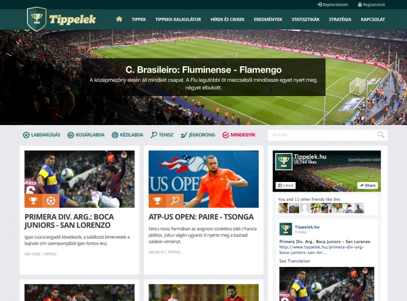 c811f76365 www.tippelek.hu - Sportfogadás, tanácsadás. Feladat: Design + fejlesztés